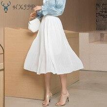 Summer Elastic Waist Mid-long High-waist Mesh Skirt Show Skinny Elegant White Black Chiffon Pleated Skirt Female Office Lady цена 2017