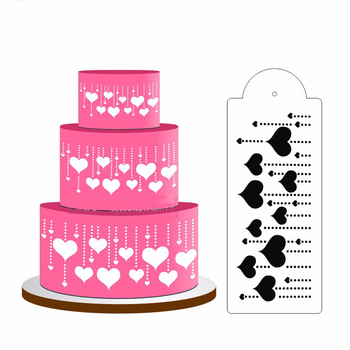 Wiszące serce ciasto wzornik boczne ciasto wzornik kremówka Mold ciasto narzędzie dekoracyjne ciasto boczne dekorowanie Top wzornik dekoracji 1PC tanie i dobre opinie Dekoratory do deserów CN (pochodzenie) Z tworzywa sztucznego Dessert Decorators