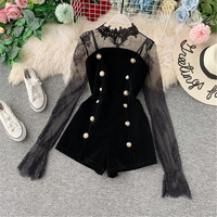 Christmas celebrity evening party black lace dress for women trumpet long vintage double breasted patchwork lace dress 2019