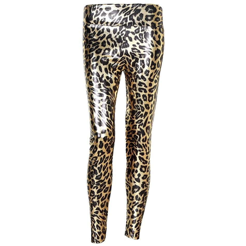 Леопардовые легинсы, женские золотые блестящие леопардовые эластичные легинсы длиной до щиколотки, модные повседневные брюки