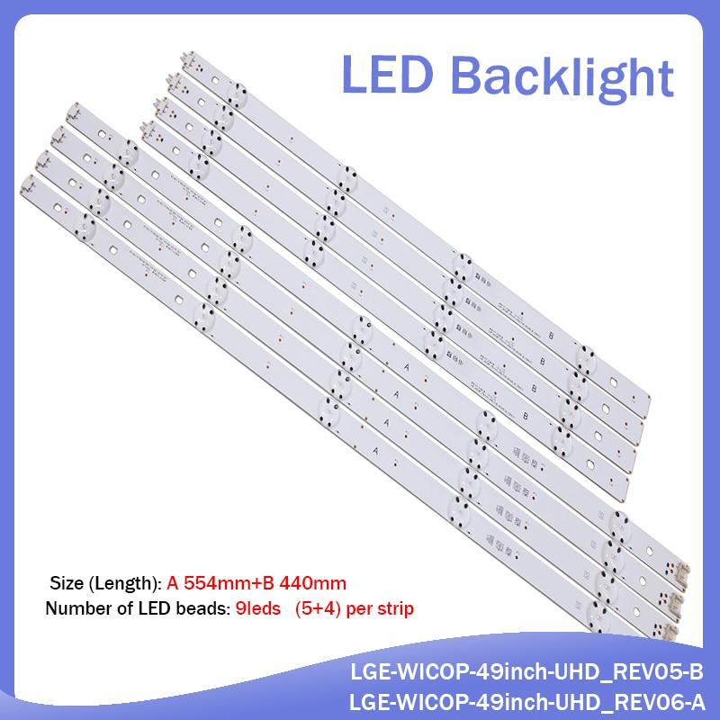 (New Kit) 16 PCS(8*A8*B)LED Backlight Strip For LG TV 49UF6407 LGE_WICOP_49inch_UHD_REV06_A LGE_WICOP_49inch_UHD_REV06_B NC490
