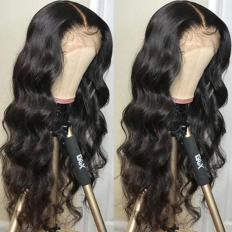 Vague de corps 13x6 dentelle avant perruques de cheveux humains 250 densité 360 dentelle frontale perruque pré-plumé Transparent faux cuir chevelu perruque jamais beauté