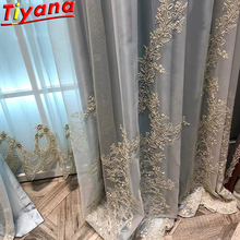 Luxury Embroidered Tulle Curtains for Living Room Pricess Wedding Gold Thread Embroider White Voile Sheer WH052#40