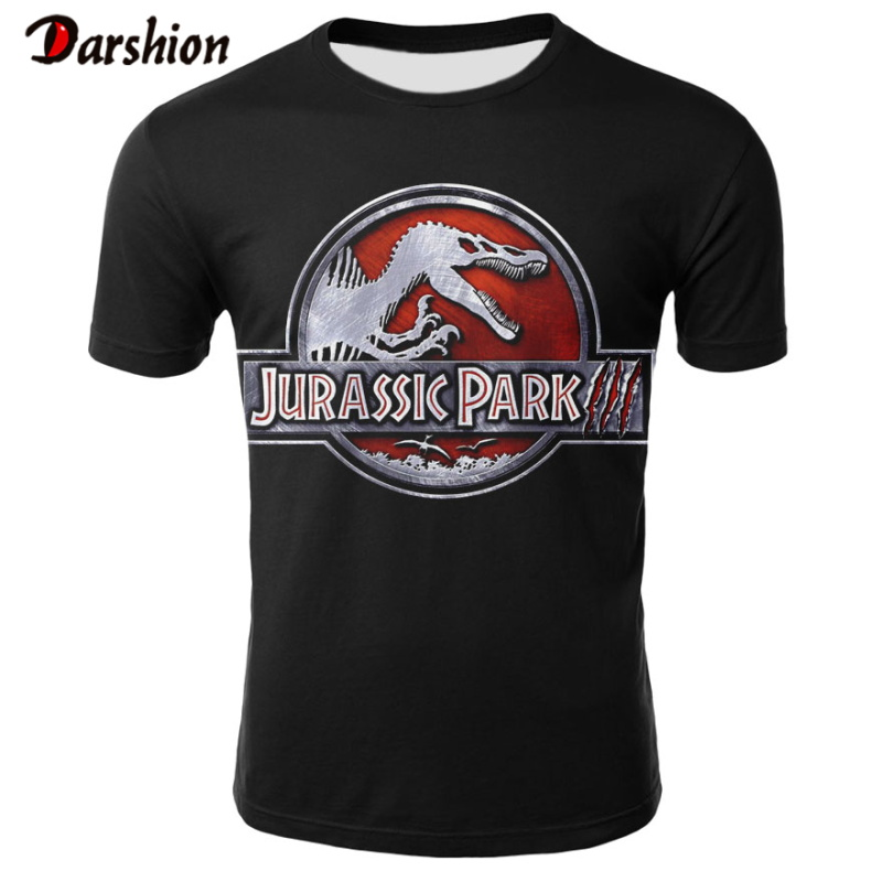 New Fashion Punk T Shirt Jurassic Park High Quality TShirt Men Black Tshirt Heavy Metal Tops 3D Jurassic Park Print Hip Hop Tees