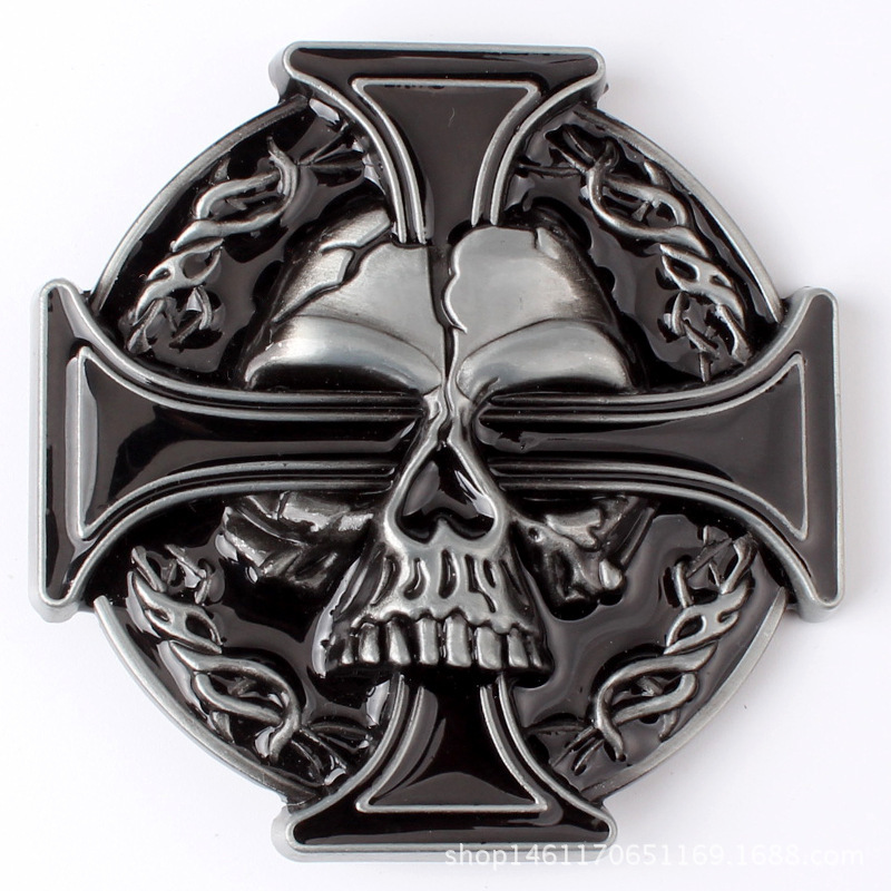 Skull Skeleton Belt Buckle Belt DIY Accessories Punk Rock Western Cowboy Style Smooth Belt Buckle K15