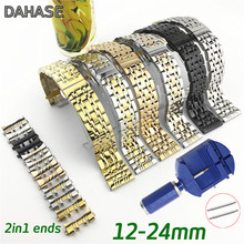 2in1 منحني مستقيم الفولاذ المقاوم للصدأ حزام (استيك) ساعة 12 14 15 16 17 18 19 20 21 22 23 24 مللي متر استبدال حزام ساعة اليد سوار العصابات