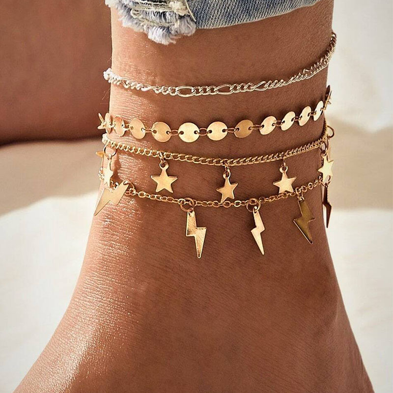 17KM Fashion Butterfly Anklet Set for Women DIY Gold Chain AnkletS 2020 Heart Foot Bracelet Beach Anklet Bohemian Jewelry 5