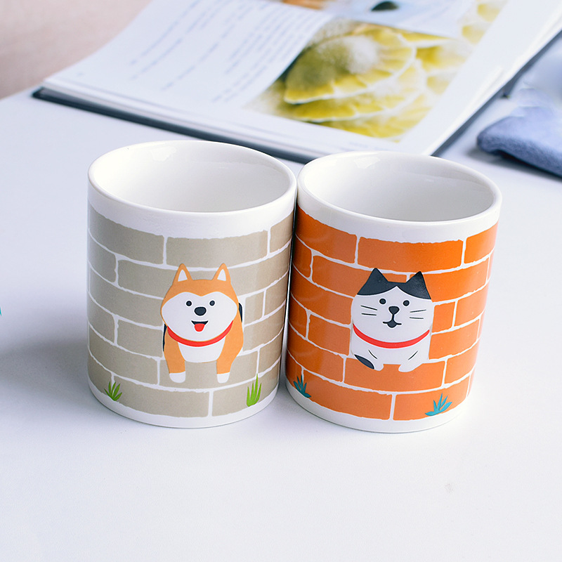 <font><b>Japanese</b></font> Style Cartoon Ceramic Mug <font><b>Cats</b></font> and Dogs with Handle Water <font><b>Cups</b></font> Home Office Coffee <font><b>Cup</b></font> Hand <font><b>Cup</b></font> Friends Couple Gifts image