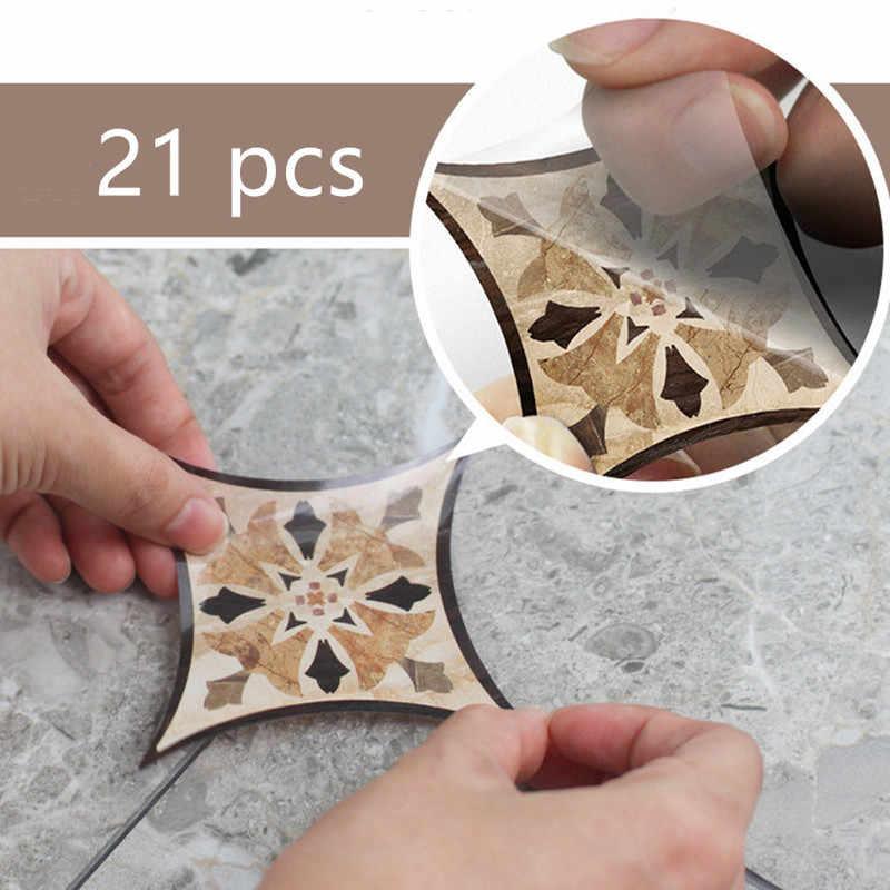 21 Buah Diri Perekat PVC Ubin Keramik Stiker Tahan Air Stiker Dinding Seni Diagonal Lantai Stiker Dapur Dekoratif Stiker