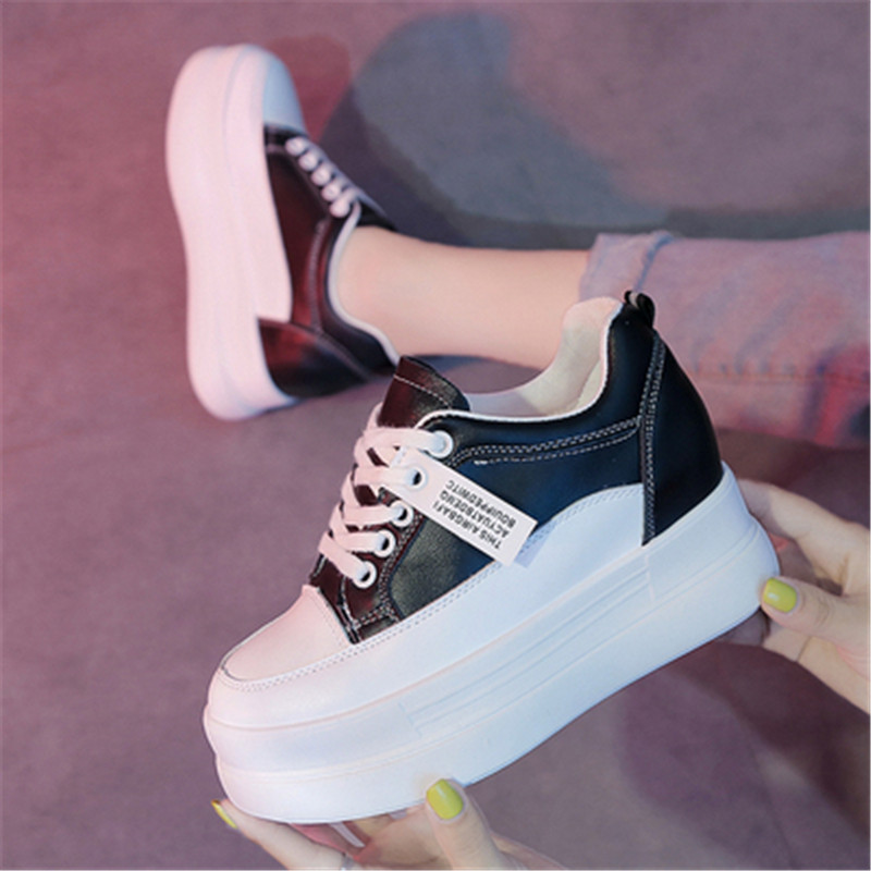 2020 New Spring Women Sneakers Fashion Thick Bottom Women Platform Trainers Casual Shoes Zapatos De Mujer Chunky Sneakers White