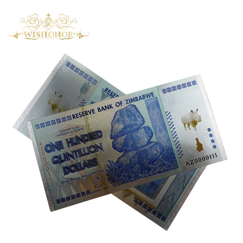 10pcs Zimbabwe Silver Banknote For One Hundred Quntillion Dollars Banknote In 24K For Gifts