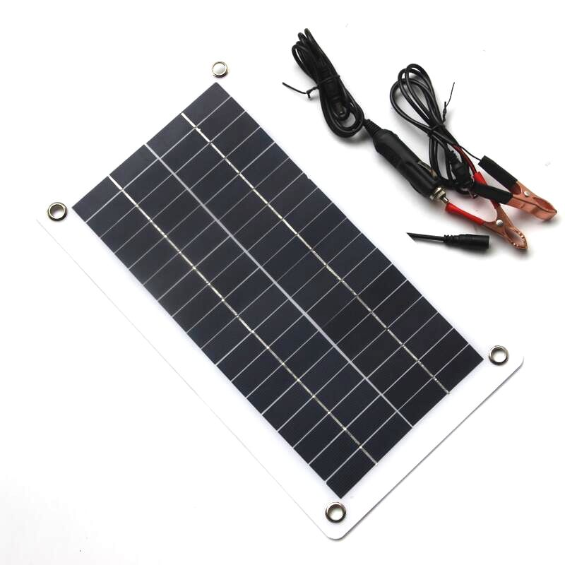 HTHL-10W 18V 12V Portable Solar Panel Charger With DC 5521 Cable For 12V Car Boat Motor Battery Charger
