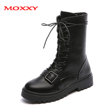 2019 New Punk Gothic Med-Calf Boots Women Shoes Fall Lace Up Black Leather Combat Platform Fashion Ladies Motorcycle