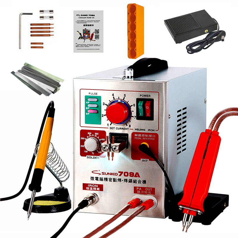 SUNKKO 709A Spot Welder 1.9KW Pulse Spot Welding Machine For Lithium Battery Pack Welding Machine With Remote Soldering Pen image