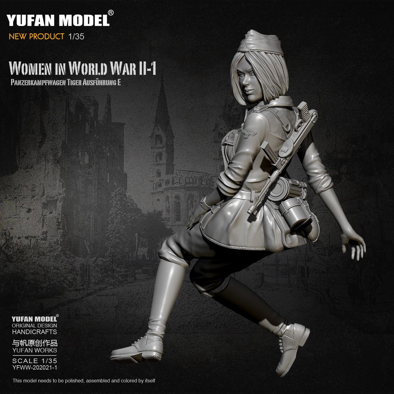 1/35 Resin Figure Kits German Female Tank Soldier Model Self-assembled YFWW-2065-1