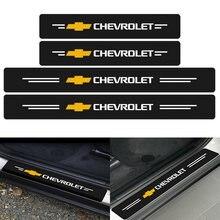 4 шт Наклейка-Обложка из углеродного волокна дверь логотипа автомобиля подоконник протектор Стикеры для Шевроле Cruze Captiva Lacetti Niva Тракс Onix для...