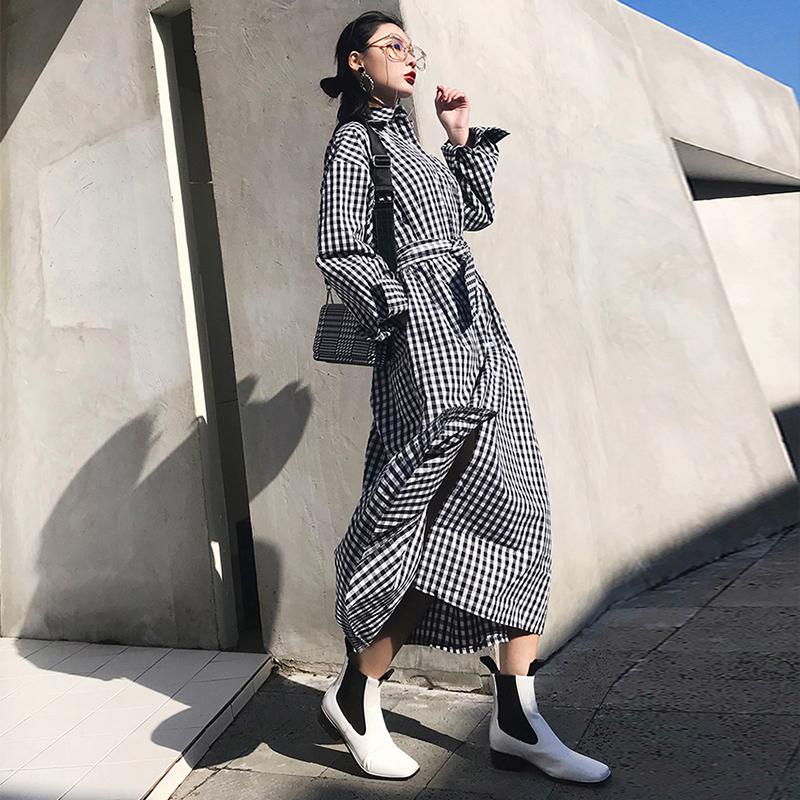 new arrival high quality women fashion plaid loose a-line   trench   coat professional temperament outdoor warm cute long   trench