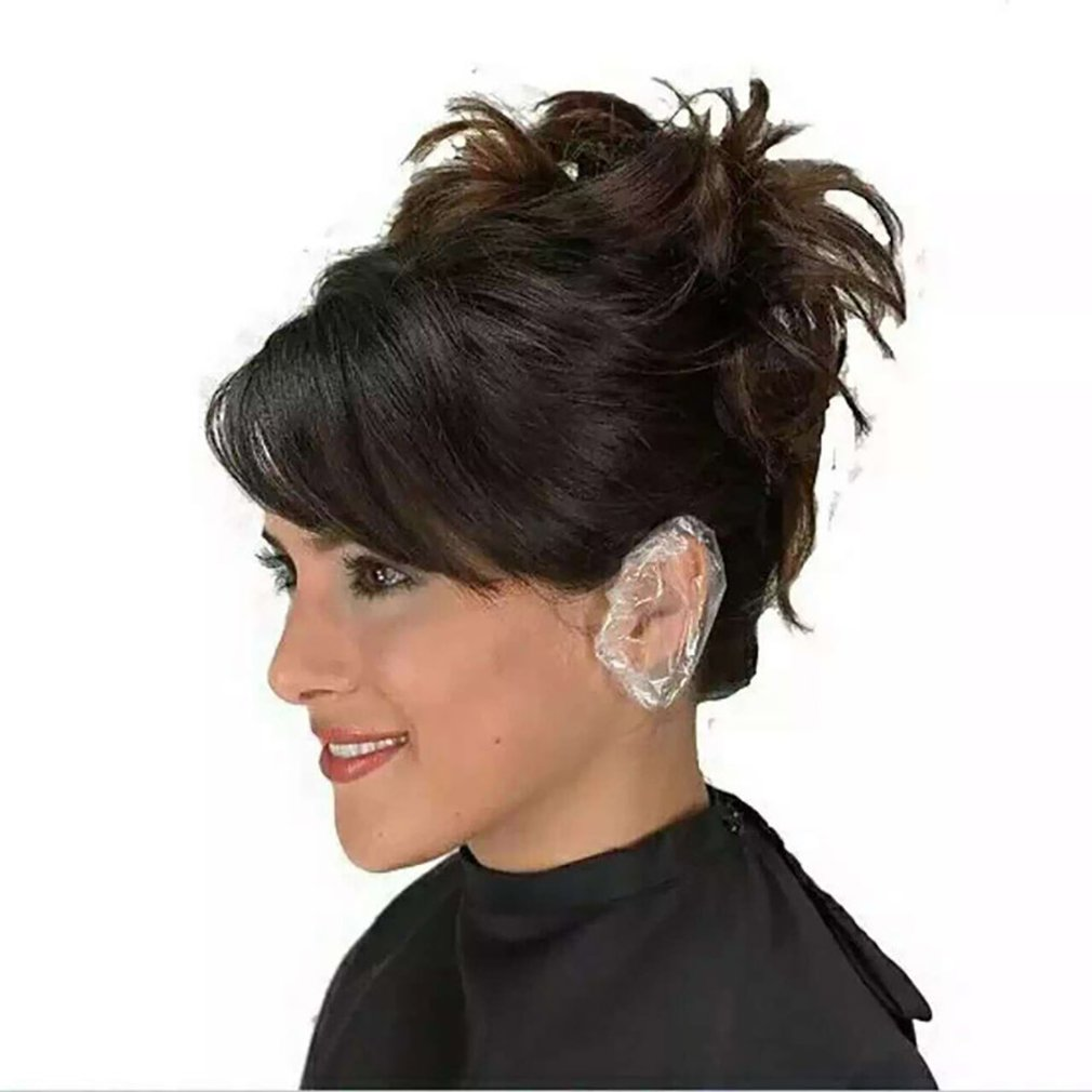 100 шт. Одноразовые прозрачные наушники душ водонепроницаемый волосы окраска ухо протектор от воды чехол шапки аксессуары