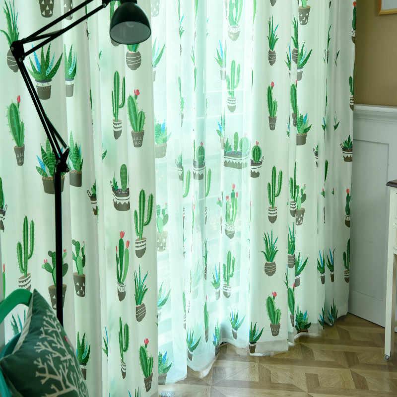 遮光カーテン葉プリント牧歌的なスタイル寝室キッチンバルコニー透明窓装飾