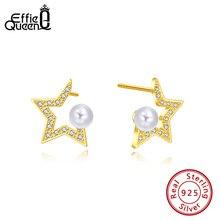 цена Effie Queen AAAA Zircon Star Shape Earrings 925 Sterling Silver With Top Grade Simulated Pearl Stud Earrings Jewelry Gift BE180