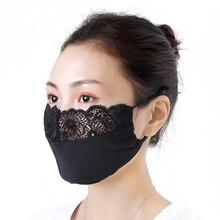 Máscara de Encaje Vintage de protección solar delgada para mujer Primavera Verano máscaras de boca coreano negro para mujer