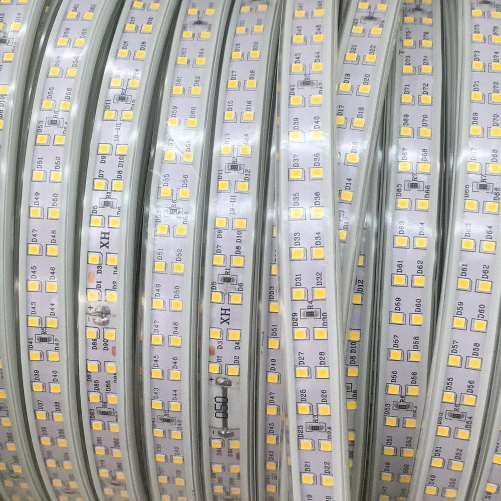 Waterdichte IP68 Dubbele Rij 220 240V 100M 2835 Led Strip Licht 180 leds/m Tape Koud /neutraal/Warm Wit Outdoor Hoge Helderheid