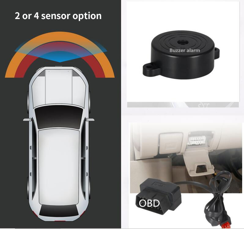 Car OBD Front 4 Parktronic Sensor System Buzzer Alarm + OBD Triggered Automatically Speed Lower Than 20km/h Original Detection