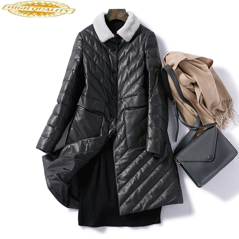 Lamb Fur Collar Genuine Leather Jacket Women 2020 Natural Sheepskin Coat Female Warm Winter Leather Down Coats W00232