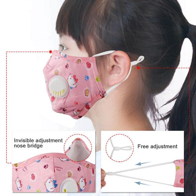 Kids Cotton Mouth Face Mask With 10pcs PM2.5 Breathing Valve Anti dust Anti Flu Mask Respirator Adjustable Children Mask 1