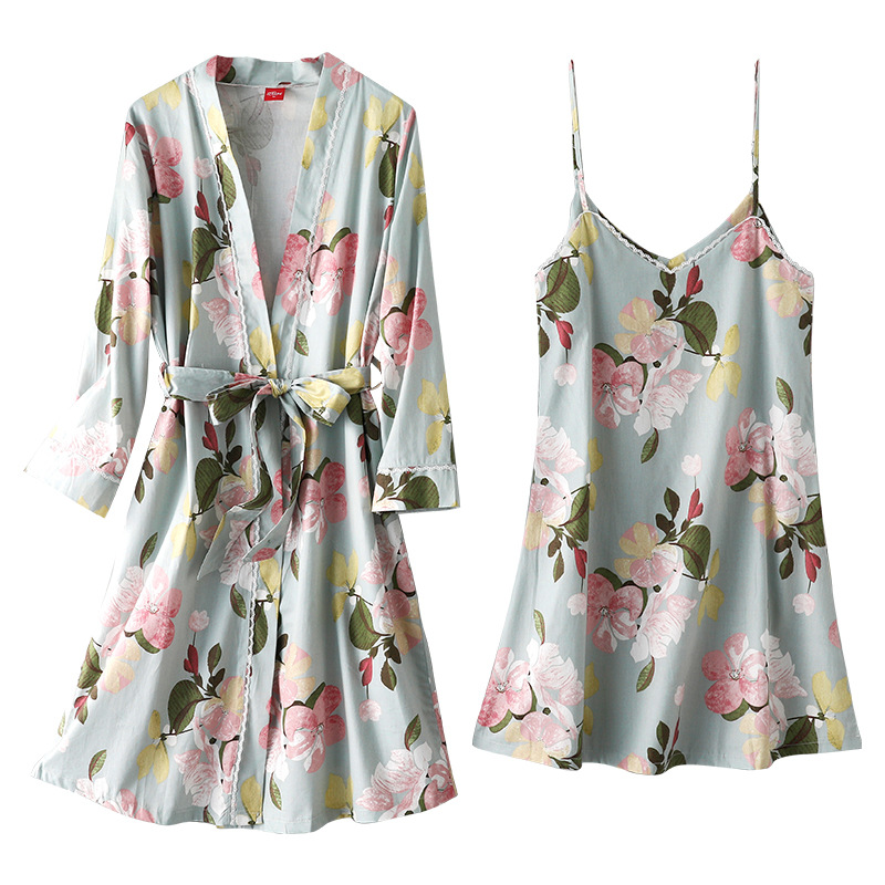 Summer Thin Sling Sleeping Skirt Women 100% Cotton Two-piece Pajamas Sexy Loose Plus Size Long Dressing Gown Printing Robe Set