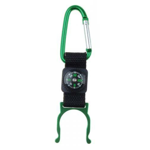 Green Carabiner Water Bottle Holder Camping Hiking With Compass