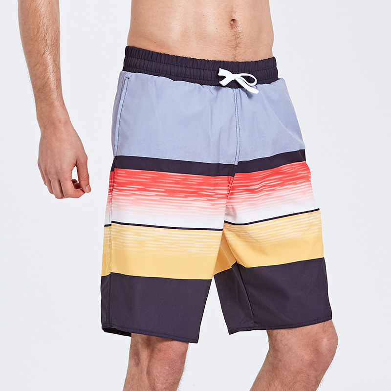 Sbart Men Seaside Beach Shorts Stripes Printed Quick-Dry Loose And Plus-sized Shorts Holiday Hot Springs Swimming Trunks