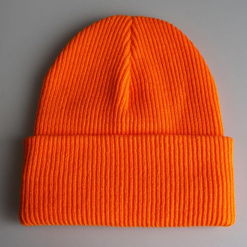 Plain Skull Cap Knit Hats Winter Warm Cuff Beanies For Men Women Orange Yellow Black Dark Green Beige