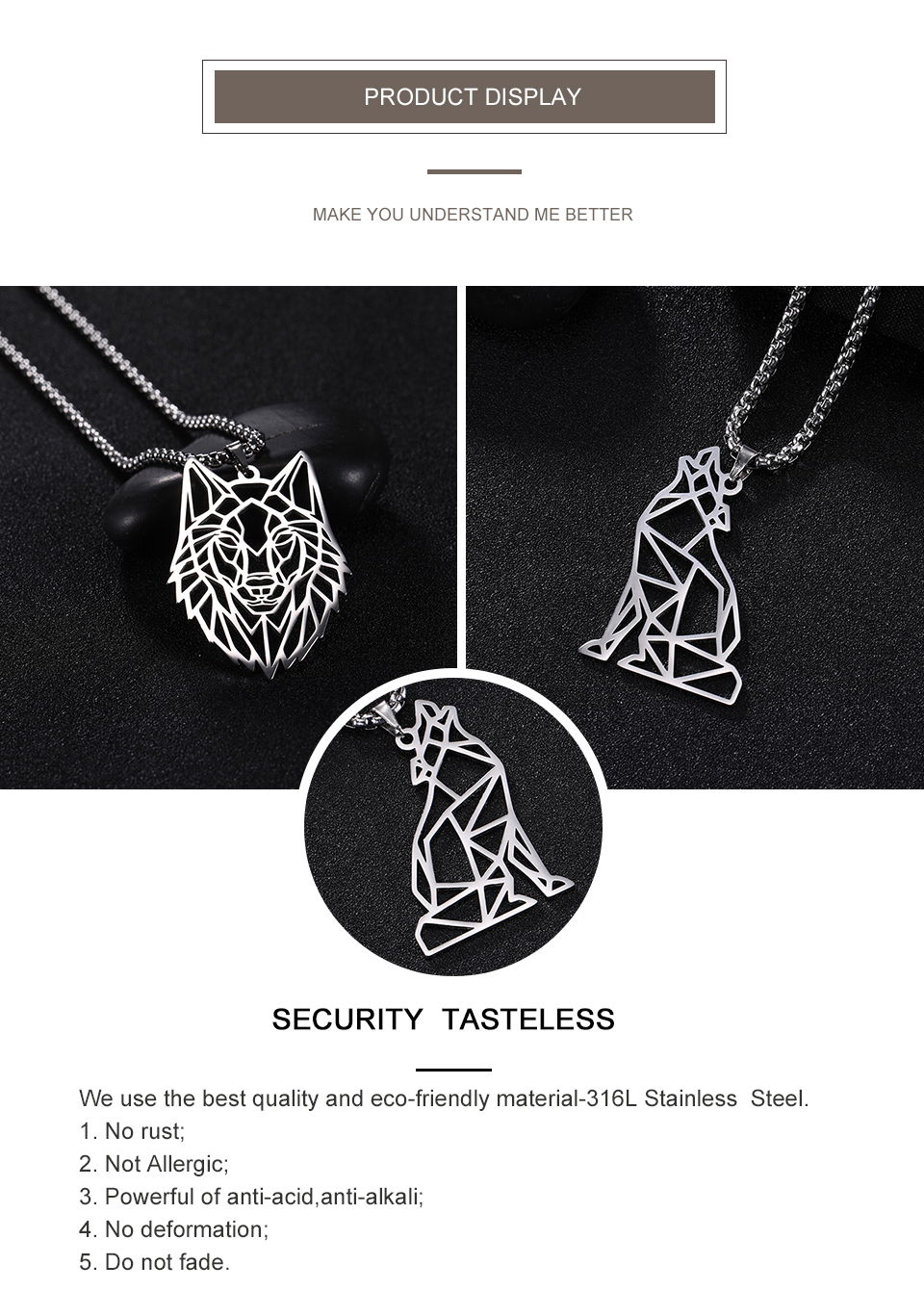 Hc92d337fd5124c8dbc9f012ca3bfb365q - My Shape Wolf Animal Necklace 316L Stainless Steel Forest Animals Men Necklace Hollow Cut Out Pendant Jewelry Gift For Women