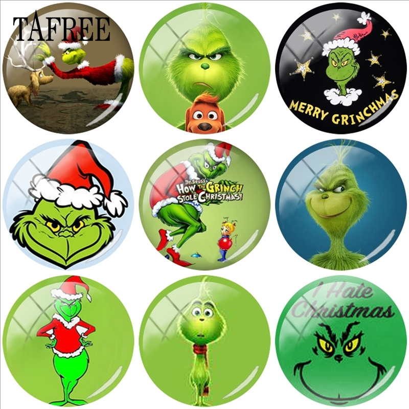 TAFREE Grinch 12mm/15mm/16mm/18mm/20mm/25mm How The Grinch Stole Christmas Photo Glass Cabochon Demo Flat Back Making Findings