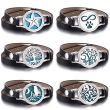 Tree of Life Aromatherapy Bracelets Essential Oil Diffuser Lockets Leather Bracelet Stainless Steel Perfume Aroma