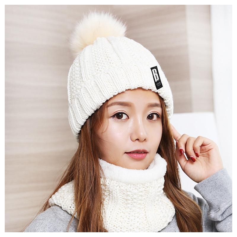 2019 Winter Women's Wool Hats Bib Sets Women Hair Ball Knit Caps Female Outdoor Cycling Windproof Beanie Hats Suit Hot Sale