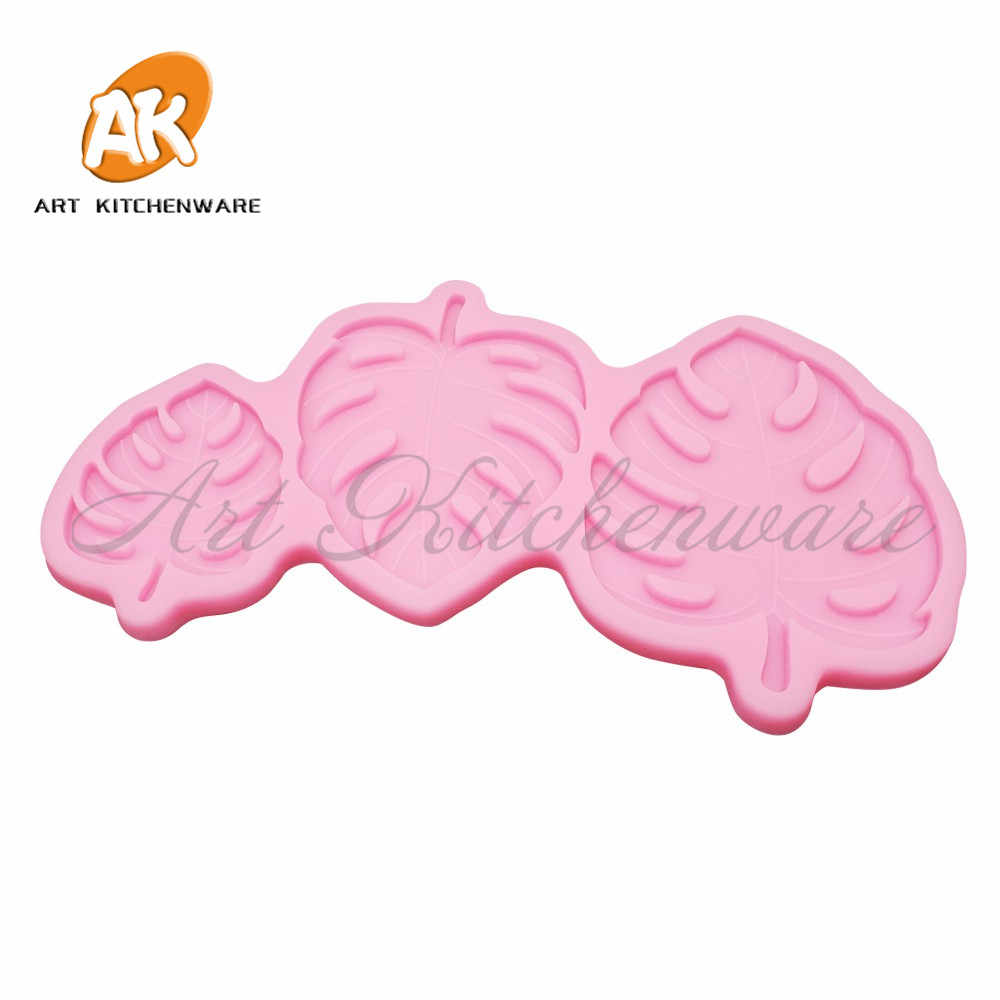 3 サイズモンステラ残しシリコーン型フォンダンケーキデコレーションシリコンモールドハンドメイド装飾葉チョコレートキャンディシリカグラム