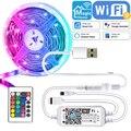 5 метров WI-FI светодиодный USB лента SMD 5050 5V RGB светодиодный светильник полосы работает с Alexa Гибкий полосы ТВ Подсветка светильник