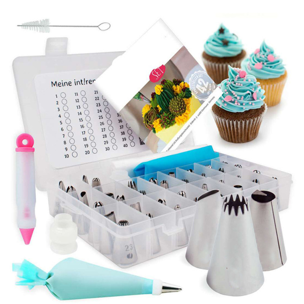 60pcs Cake Decorating Kit Set Baking Accessories Turntable Stands Cake Tips Icing Smoother Spatula Piping Pastry Bags Tools