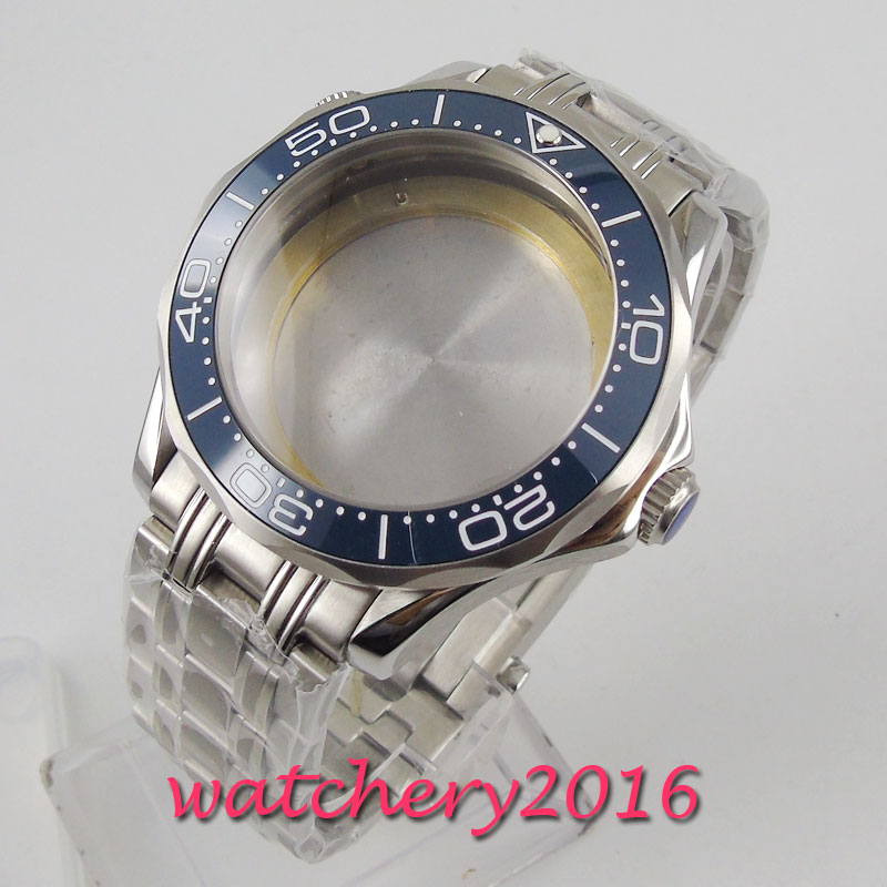 BLIGER Stainless Steel 41mm Watch Case Sapphire Glass With Watch Strap Fit ETA 2836 MIYOTA 8215 821A 8205 Movement