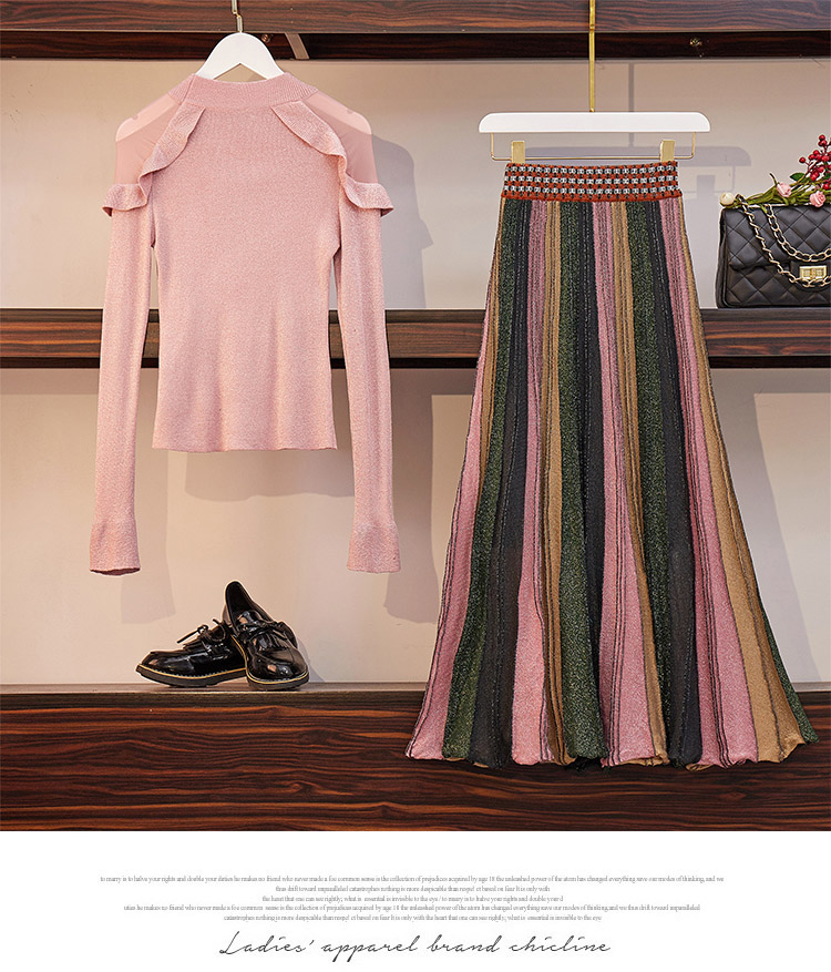 Two Piece Sets Women Outfits Spring 2019 Knitting Sweaters And Shiny Long Pleated Skirt Suits Elegant Korean Fashion Ladies Sets 33
