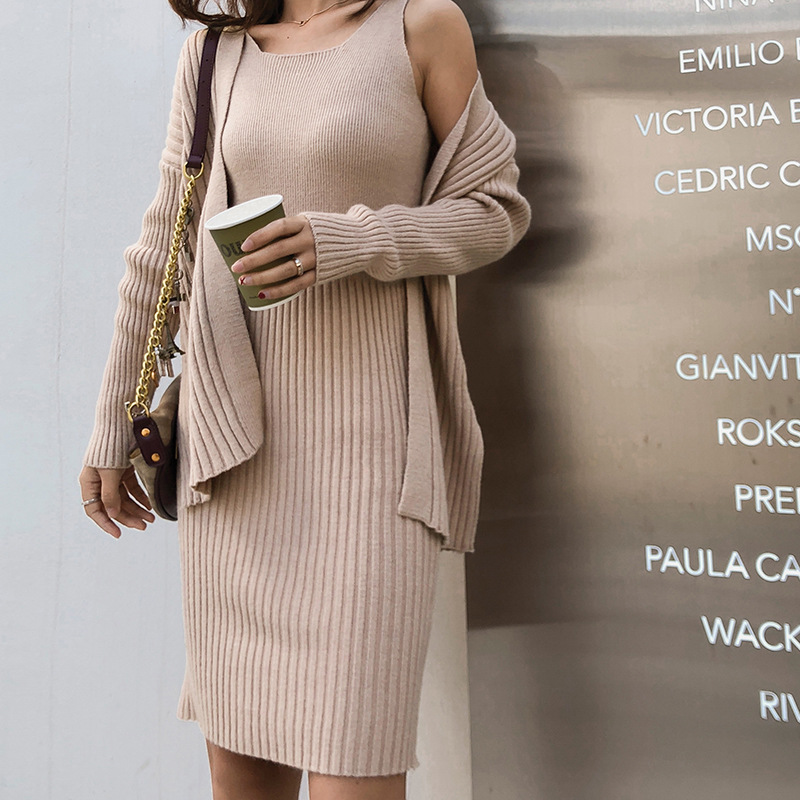 Korean-style Winter New Style Vest Sweater Dress Two-Piece Knitted Cardigan Camisole Skirt WOMEN'S Suit F5453