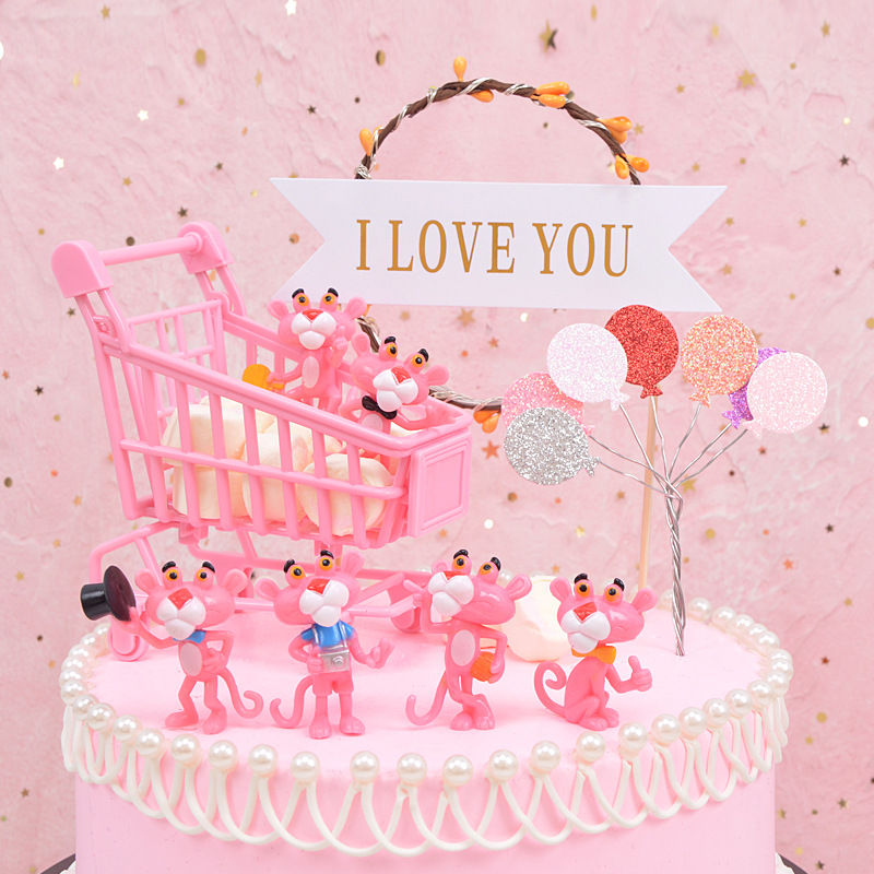 INS Diy Birthday Cake Decorations  Hair Ring And Ornaments Bakery Dessert Table Decoration Combination