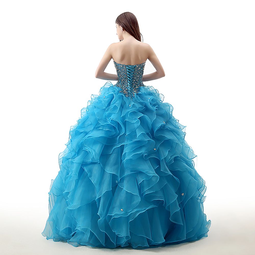 Luxury Blue sweet 16 dress Ball Gown Tiered vestido de debutante Quinceanera DressES Ball Gown Tiered vestido de debutante