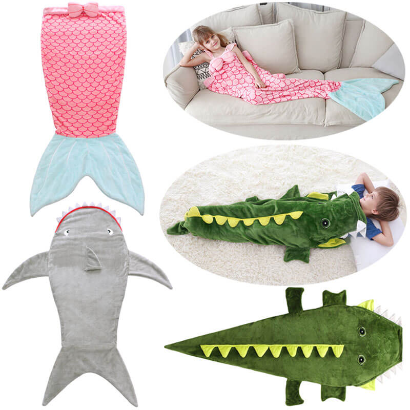 Kids Sleeping Bag Blankets Animals Pajamas Mermaid Sleep Sack Boy Shark Kids Sleep Bag Boys Girls Birthday Gifts Dropshipping
