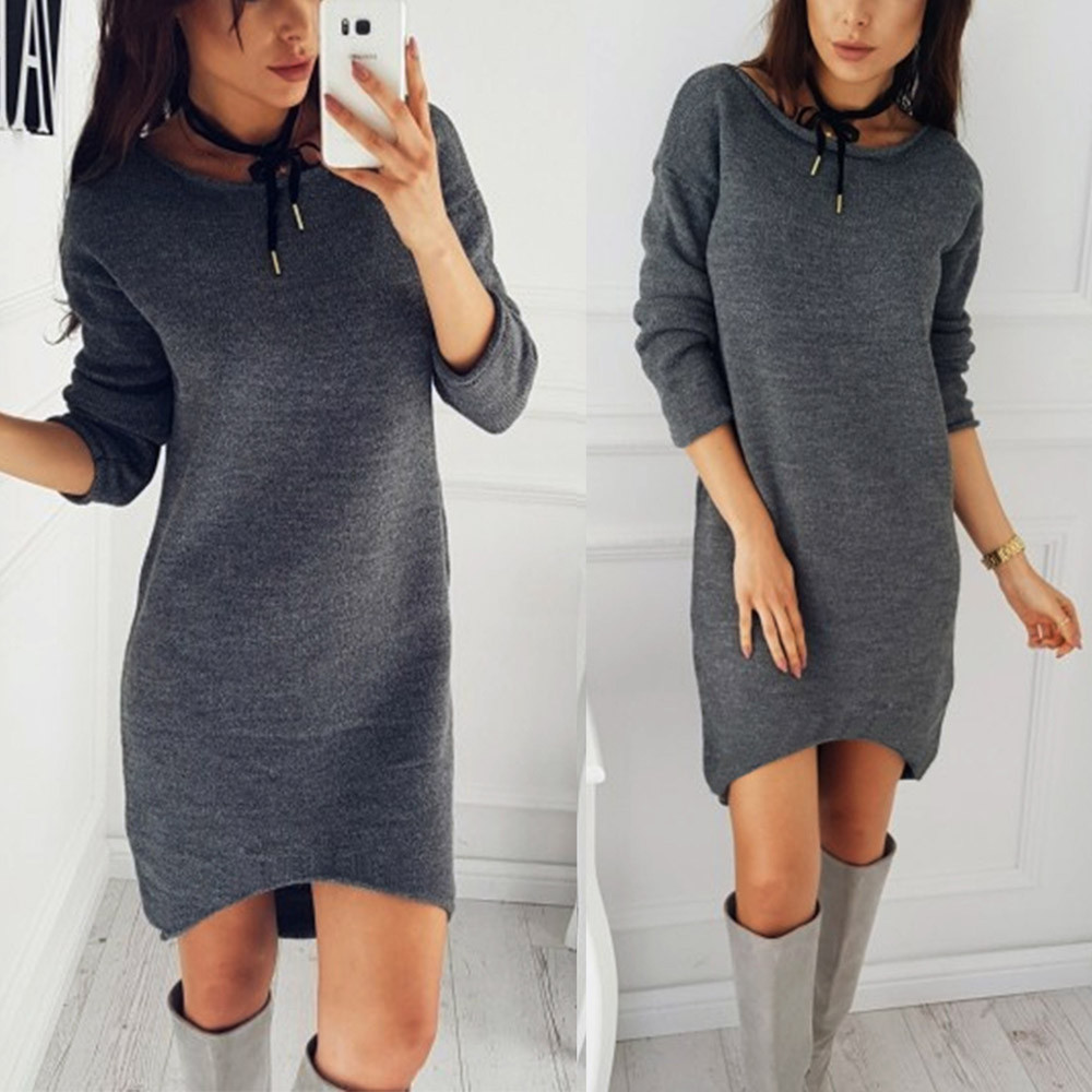 Hot Sale Autumn Winter O Neck Long Sleeve Solid Color Ladies Loose Casual Women Dress Lady Bodycon Robe Dresses S-XL