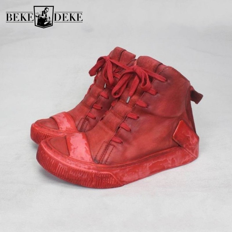 Handmade Luxury Mens High Top Cowhide Genuine Leather Boots Lace Up Vintage Trainers Sneakers Hip Hop Casual Platform Shoes Boot