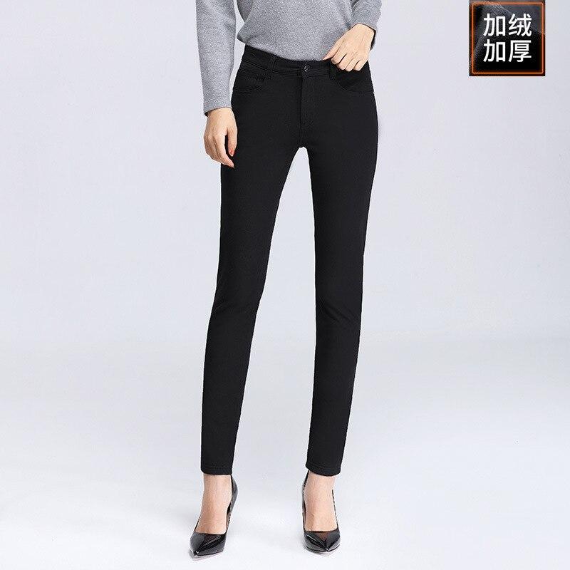 Женские брюки, зимние Бархатные повседневные брюки, женские обтягивающие Стрейчевые брюки с высокой талией, 0339