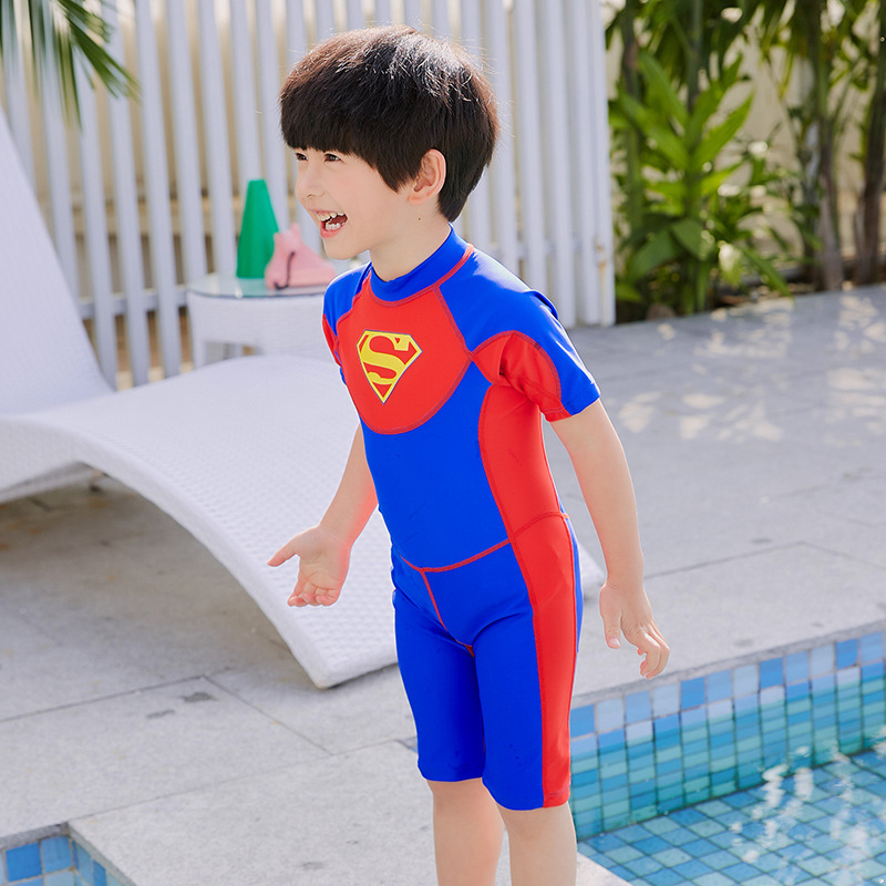 2019 New Style KID'S Swimwear Men's Cute Superman Cartoon Swimming Suit Boys' Cotton One-piece Swimsuit Small CHILDREN'S